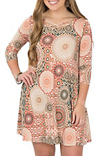 James C Women's Coral and Taupe Medallion Print Dress