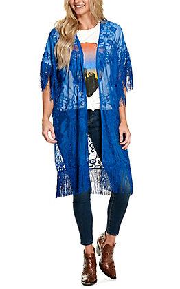 Rockin C Women's Blue Lace with Fringe Kimono