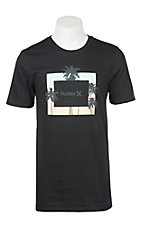 Hurley Men's Black Core Twilight Palm Logo Short Sleeve T-Shirt
