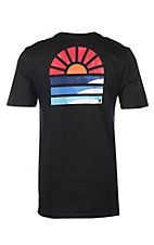Hurley Men's Black Core Sunset Design Short Sleeve T-Shirt