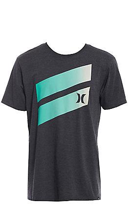 Hurley Men's Heather Black Premium Icon Slash Gradient Short Sleeve T-Shirt