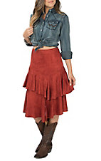 Flying Tomato Women's Rust Faux Suede Ruffle Skirt
