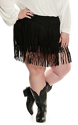 Lucky & Blessed Women's Black Fringed Faux Suede Shorts - Plus Size