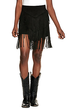 Lucky & Blessed Women's Black Fringed Faux Suede Shorts
