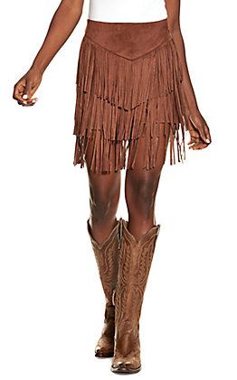 Lucky & Blessed Women's Brown Fringed Faux Suede Shorts