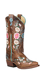 Macie Bean Kid's Tan Mad Cat Floral Embroidered Snip Toe Boots