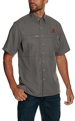 GameGuard Outdoors Men's University of Alabama Gunmetal MicroFiber Short Sleeve Fishing Shirt
