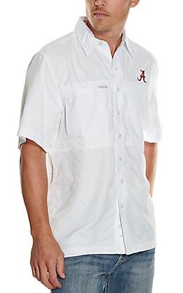GameGuard Outdoors Men's University of Alabama White MicroFiber Short Sleeve Fishing Shirt