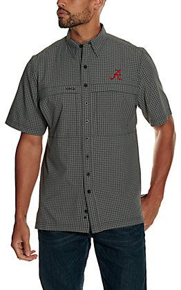 GameGuard Outdoors Men's University of Alabama Gunmetal TekCheck MicroFiber Short Sleeve Fishing Shirt