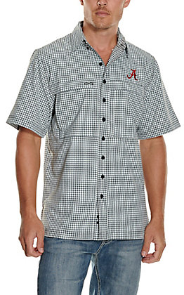 GameGuard Outdoors Men's University of Alabama White TekCheck MicroFiber Short Sleeve Fishing Shirt