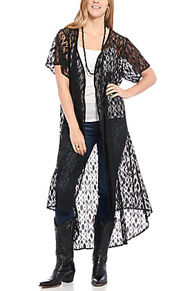 Crazy Train Women's Black Crochet Lace Duster