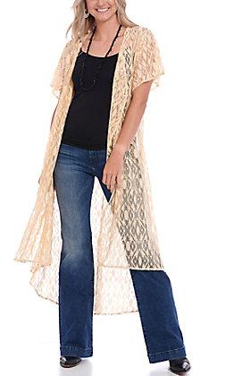 Crazy Train Women's Cream Crochet Lace Duster