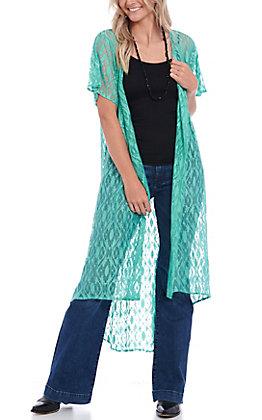 Crazy Train Women's Turquoise Crochet Lace Duster