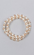 Ashlyn Rose Three Strand Matching Pearl and Champagne Bracelet
