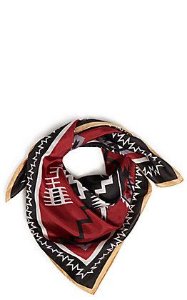 Wyoming Trader's Maroon and Black Aztec Print Silk Scarf