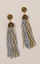 Ashlyn Rose Gold ad Silver Beaded Tassel Earrings with Gold Crystals