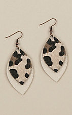 Ashlyn Rose Beige Leather Leopard Leaf Earrings