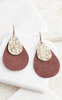 Ashlyn Rose Brown Leather Teardrop Earrings