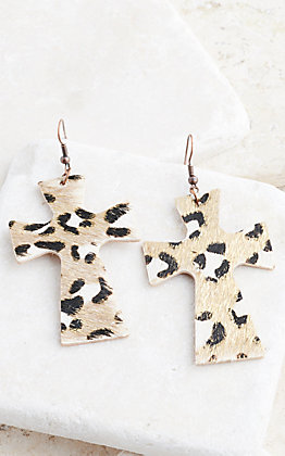 Ashlyn Rose Leopard Print Cross Earrings