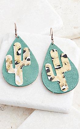Ashlyn Rose Turquoise Teardrop With Leopard Print Cactus Earrings