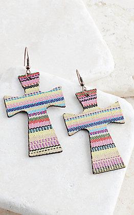 Ashlyn Rose Yellow Serape Leather Cross Earrings