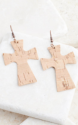 Ashlyn Rose Cross Cork Earrings