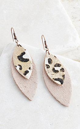 Ashlyn Rose Double Layered Leather & Leopard Earrings