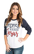Crazy Train Women's White with America Needs Jesus Screen Print Navy Long Sleeves Baseball Style Casual Knit Top