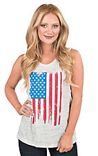 Bella Women's Grey with American Flag Screen Print Sleeveless Casual Knit Muscle Tank