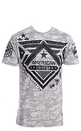 Affliction American Fighter Men's Wolflake Grey and White Graphic T-Shirt