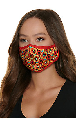Mustard Aztec Cloth Face Mask with Filter