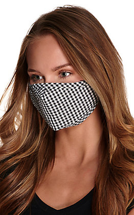 Black and White Gingham Plaid Cloth Face Mask with Filter