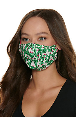 Cactus Print Cloth Face Mask with Filter