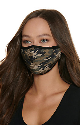Green Camo Cloth Face Mask with Filter