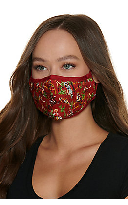 Vintage Cowgirl Print Cloth Face Mask with Filter