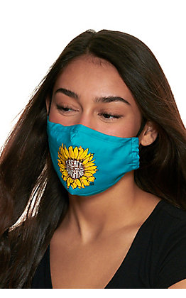 Turquoise Sunflower Create Your Own Sunshine Cloth Face Mask with Filter