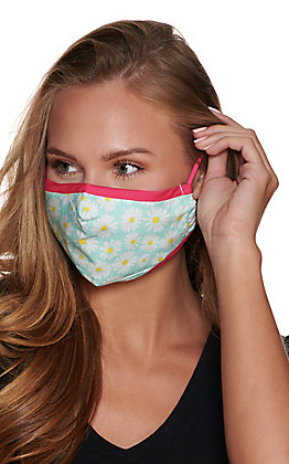 Turquoise and Pink Daisy Cloth Face Mask with Filter