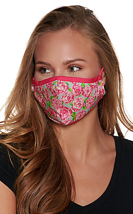 Pink Floral Cloth Face Mask with Filter
