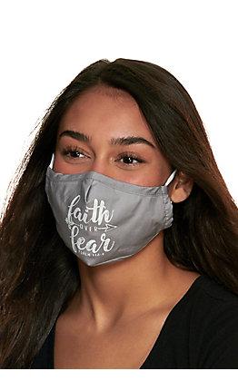 Grey Faith Over Fear Cloth Face Mask with Filter