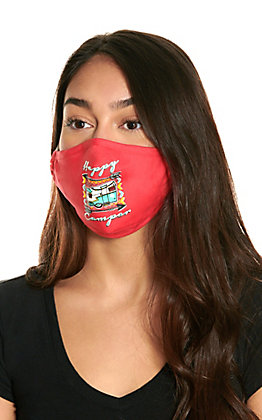 Coral Happy Camper Cloth Face Mask with Filter