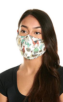Cream Cactus & Llama Print Cloth Face Mask with Filter
