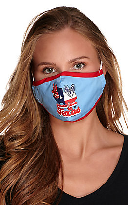 Light Blue Peace, Love, Texas Cloth Face Mask with Filter