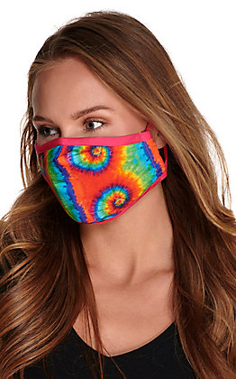 Bright Tie Dye Cloth Face Mask with Filter