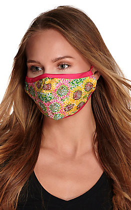Pink and Yellow Sunflower Cloth Face Mask with Filter
