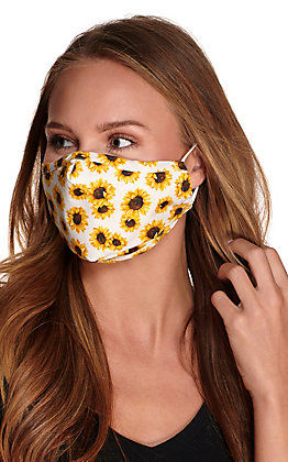 White Sunflower Cloth Face Mask with Filter