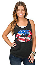 Country Deep Women's Vintage Black American Lips Tank