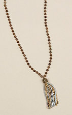 Ashlyn Rose Brown and Crystal Beads with Silver Tassel Necklace