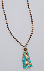 Ashlyn Rose Brown and Crystal Beads with Turquoise Tassel Necklace