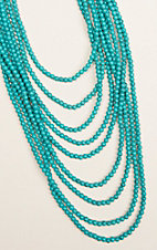 Ashlyn & Rose Marbled Turquoise Beads with 9 Strand Layers Necklace