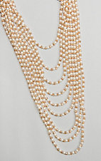 Ashlyn & Rose Pearl and Champagne Beads with 9 Strand Layers Necklace
